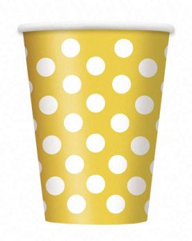 Yellow Polka Dot Party Paper Cups 6pk