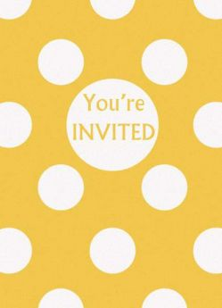 Yellow Polka Dot Party Invitations 8pk