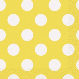 Yellow Polka Dot Party Napkins 16pk