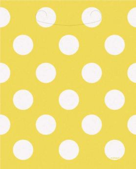 Yellow Polka Dot Party Loot Bags 8pk