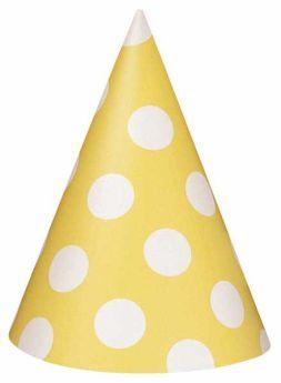 Yellow Polka Dot Party Hats 8pk