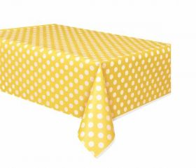 Yellow Polka Dot Party Tablecover