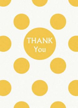 Yellow Polka Dot Party Thank You Cards 8pk