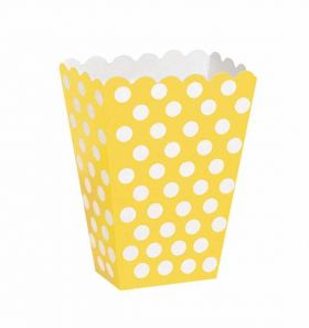 Yellow Polka Dot Party Treat Boxes 8pk