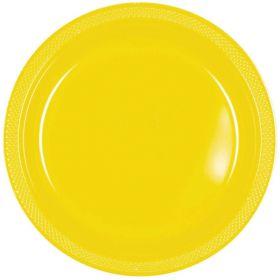 Sunshine Yellow Plastic Plates 23cm, pk20