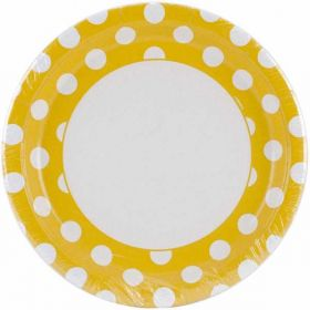 "Yellow Polka Dot 9"" Party Paper Plates 8pk"