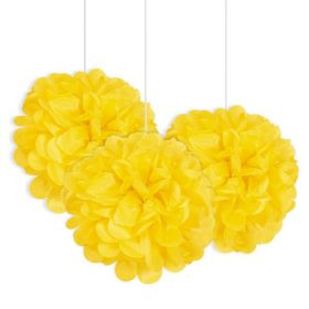 Yellow Paper Puff Ball Hanging Party Decorations pk3