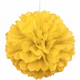 Yellow Paper Puff Ball Hanging Party Decoration