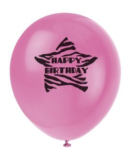 Zebra Passion Happy Birthday Party Balloons 8pk