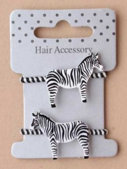 Card of 2 zebra striped elastics with zebra motif