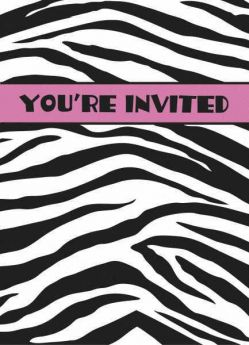 Zebra Passion Party Invitations 8pk